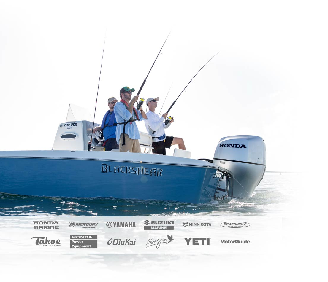 Guys Fishing from Boat plus Brand logos incl. Honda Marine, Mercury, Yamaha and Tahoe
