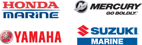 Honda Marine, Mercury, Yamaha and Suzuki Marine logos collage