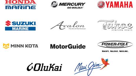 Honda Marine, Mercury Marine, Yamaha, Suzuki Marine, Avalon, Tahoe, Minnkota, Motorguide, PowerPole, Olukai, Maui Jim