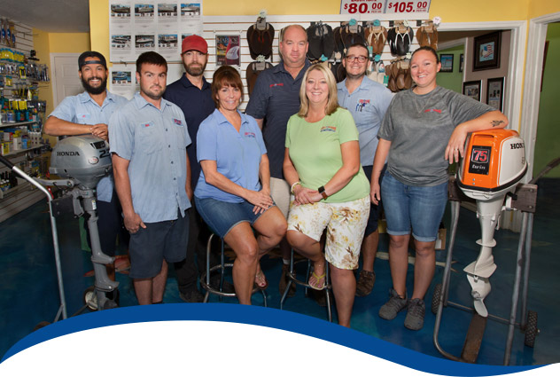 Abel's Marine Staff in our showroom
