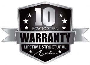 Avalon 10 Year Bow to Stern Lifetime Structural Warranty Badge